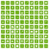 100 sport club icons set grunge green. 100 sport club icons set in grunge style green color isolated on white background vector illustration Royalty Free Stock Image