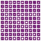 100 sport club icons set grunge purple. 100 sport club icons set in grunge style purple color isolated on white background vector illustration Stock Images