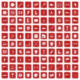 100 sport club icons set grunge red. 100 sport club icons set in grunge style red color isolated on white background vector illustration Royalty Free Stock Photography
