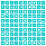 100 sport club icons set grunge blue. 100 sport club icons set in grunge style blue color isolated on white background vector illustration Royalty Free Stock Photos