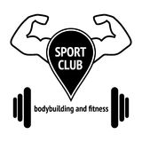 Sport club. Sport logo design, silhouette action symbol icon vector. Fitness club logo with stylized ornamental muscular body, vector illustration. Isolated on Stock Photography