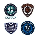 Sport themed patch set, suitable for college stock illustration