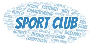 Sport Club word cloud. Wordcloud made with text only vector illustration