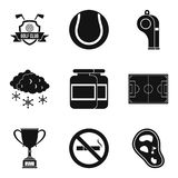 Sport clubhouse icons set, simple style. Sport clubhouse icons set. Simple set of 9 sport clubhouse vector icons for web isolated on white background Royalty Free Stock Photography