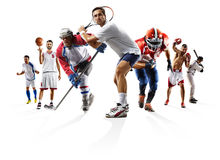Sport collage boxing soccer american football basketball baseball ice hockey etc Stock Photo