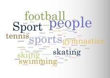 sport Collage der Wörter Vektorillustration Stock Abbildung