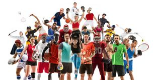Sport collage about female athletes or players. The tennis, running, badminton, volleyball. stock photos