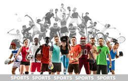 Sport collage about female athletes or players. The tennis, running, badminton, volleyball. stock images