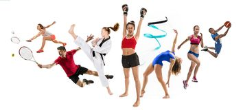 Sport collage about kickboxing, basketball, badminton, taekwondo, tennis, athletics, rhythmic gymnastics, running and. Attack and winners. Sport collage about royalty free stock images