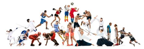 Sport collage about kickboxing, soccer, american football, aikido, rugby, judo, fencing, badminton, tennis and boxing royalty free stock photography