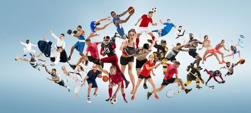 Sport collage about kickboxing, soccer, american football, basketball, ice hockey, badminton, taekwondo, tennis, rugby stock photo