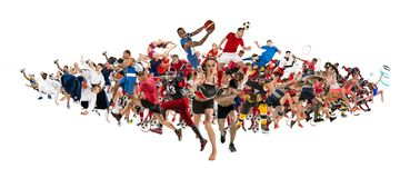 Sport collage about kickboxing, soccer, american football, basketball, ice hockey, badminton, taekwondo, tennis, rugby royalty free stock photos