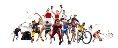 Sport collage about kickboxing, soccer, american football, basketball, ice hockey, badminton, taekwondo, tennis, rugby royalty free stock photography