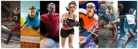 Sport collage about soccer, american football, badminton, tennis, boxing, ice and field hockey, table tennis stock image