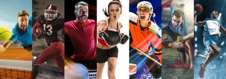 Sport collage about soccer, american football, badminton, tennis, boxing, ice and field hockey, table tennis royalty free stock photo