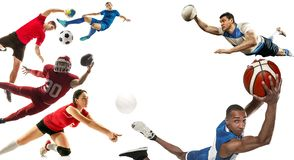 Sport collage about soccer, american football, basketball, volleyball, rugby, handball stock image