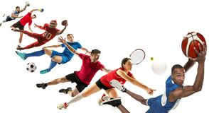 Sport collage about soccer, american football, basketball, volleyball, tennis, rugby, handball royalty free stock photos