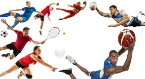 Sport collage about soccer, american football, basketball, volleyball, tennis, rugby, handball stock photo