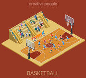 Sport collection: basketball team match play. Basketball team competition match play. Sport modern lifestyle flat 3d web isometric infographic vector. Young Stock Photos