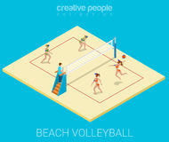 Sport collection: beach volleyball. Beach volleyball field team match play sport modern lifestyle flat 3d web isometric infographic vector. Young joyful women Royalty Free Stock Image