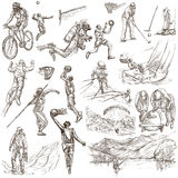 Sport - collection of an hand drawn illustrations Royalty Free Stock Image