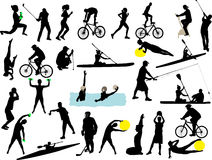 Sport collection vector silhouette Royalty Free Stock Image