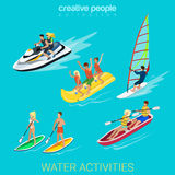 Sport collection: wind surf, boating, scooter, banana Royalty Free Stock Image