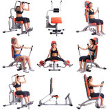 Sport. Collection of women training on simulators Royalty Free Stock Photography