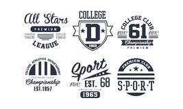 Sport college club logo design set, vintage premium championship, sport club emblem or badge vector Illustration. Isolated on a white background stock illustration