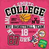 Sport college training typography, t-shirt graphics, vectors Stock Image
