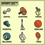Sport color outline isometric icons. Vector illustration, EPS 10 Stock Photos