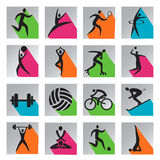 Sport colorful web icons. Set of colorful modern icons with long shadow with sport, fitness and yoga activities. Vector illustration Vector Illustration