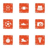 Sport commit icons set, grunge style. Sport commit icons set. Grunge set of 9 sport commit vector icons for web isolated on white background royalty free illustration