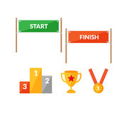 Sport competition flat icon set with Start Finish Royalty Free Stock Images