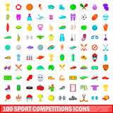 100 sport competition icons set, cartoon style Royalty Free Stock Images