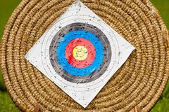 Shooting target and bullseye with many bullet holes Royalty Free Stock Images