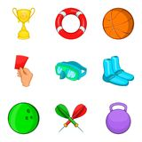 Sport competitions icons set, cartoon style. Sport competitions icons set. Cartoon set of 9 sport competitions vector icons for web isolated on white background Royalty Free Stock Images