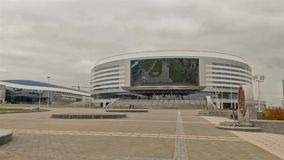 Sport complex Minsk arena . Time lapse shot in motion. Sport complex Minsk-arena - one of the venue of Ice Hockey World Championship 2014. Time lapse shot in stock video footage
