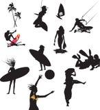 Sport con le siluette nere   Fotografia Stock Libera da Diritti