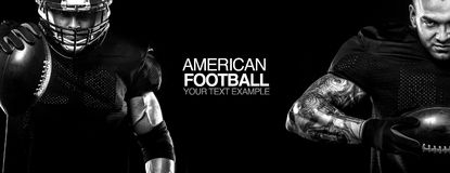 Sport concept. American football sportsman player on black background with copy space. Sport concept. American Football player on black background with copy Stock Images