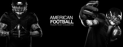Sport concept. American football sportsman player on black background with copy space. Sport concept. Royalty Free Stock Photography