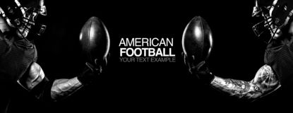 Sport concept. American football sportsman player on black background with copy space. Sport concept. American Football player on black background with copy stock photo