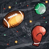 Sport concept art in cartoon style . Hand drawn background, ball for american football and tennis and boxing glove for Stock Image