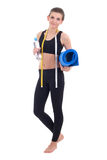 Sport concept -beautiful slim sporty woman with measure tape and Stock Image