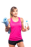 Sport concept -beautiful slim sporty woman with Royalty Free Stock Photography