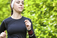 Sport Concept: Closeup of Positive Caucasian Fit Woman Having He Royalty Free Stock Image