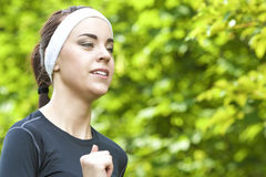 Sport Concept: Closeup of Positive Caucasian Fit Woman Having He Royalty Free Stock Images