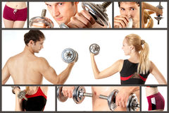 Sport concept collage. Fitness, bodybuilding. Collage from man and woman fitness, bodibilding. They are working out stock photo