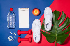 Sport concept. Fitness equipment. Sneakers, water, apple, dumbbe Royalty Free Stock Photography
