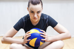 Sport Concept. Photo of a Beautiful Female Volleyball Player With Ball Royalty Free Stock Photography